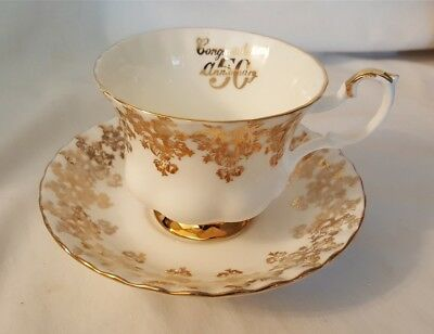 Royal Albert Bone China England Cup & Saucer - Gold Detailing 50th Anniversary