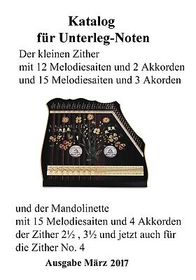 Zither Akkordzither Notenkatalog