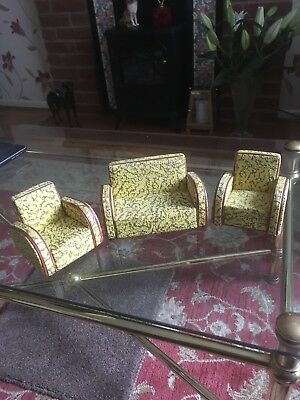 Collectable 1930s Deco Traveling Salesman's Sample Miniature 3 Piece Suite VVGC