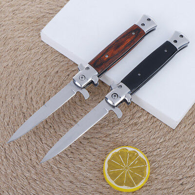 "9"" Stiletto Milano Tactical Wood Spring Assisted Folding Knife Pocket Blade`Open"