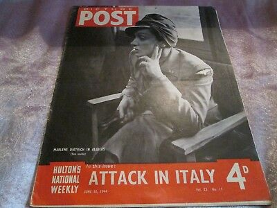 "WW2 PICTURE POST MAGAZINE  June 10th 1944 Cover ""MARLENE DIETRICH in ALGIERS"