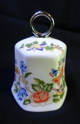 AYNSLEY COTTAGE GARDEN TABLE BELL English Fine Bone China Ring Handle Butterfly