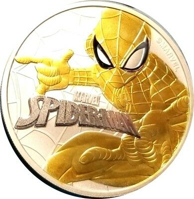 2017 1 oz Tuvalu Spiderman Marvel Series 24k Gold Gilded  .9999 Pure SilverCoin