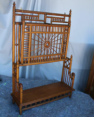 Antique Fancy Oak Stick and Ball Magazine Rack – Wall Mount of Self Standing