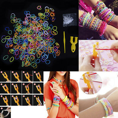600Pcs rainbow loom refill rubber bands DIY braided rubber bracelet S-Clips kit`