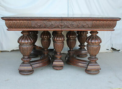 Antique Victorian Square Oak Dining Table – 5 leaves – 129″