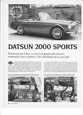 1968 Datsun 2000 Convertible Road Test Technical Data Review Article