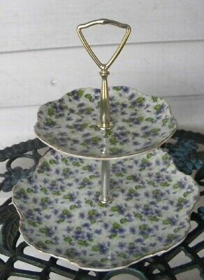 Vintage LEFTON Floral Violets Two Tiered Tidbit Tray ... JAPAN