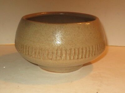 Warren Mackenzie Pottery Bowl W Impressed Design, Marked From A Pvt. Coll.