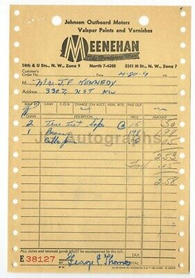John F. Kennedy Original 1960s Receipt from Meenehan Hardware Store