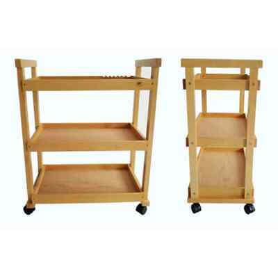 W13 3-Tier High Quality Beech Drawing Tool Cart Burlywood Multifunctional Use