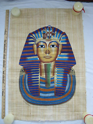 """Egyptian Papyrus Paper Painting King Tut Mask 26""""X34"""""""