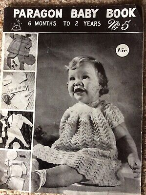 Vintage Paragon Baby Knitting Pattern Book No.  5 Six Months - 2 Years