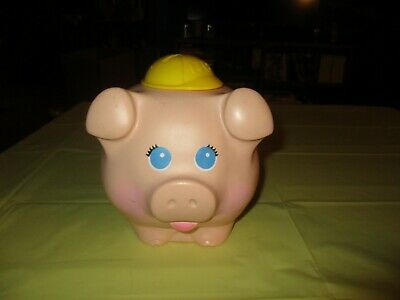 Vintage 1980 Fisher Price Piggy Bank Quaker Oats Yellow Hard Plastic Made In Usa