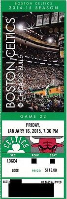 BOSTON CELTICS v CHICAGO BULLS SEASON TICKET STUB 1/16/2015 @ TD GARDEN