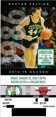 BOSTON CELTICS v CHICAGO BULLS SEASON TICKET STUB 1/22/2016 @ TD GARDEN