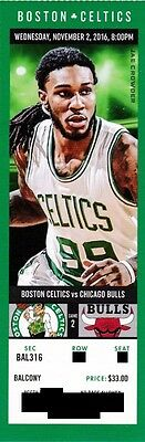 BOSTON CELTICS v CHICAGO BULLS SEASON TICKET STUB 11/2/2016 @ TD GARDEN