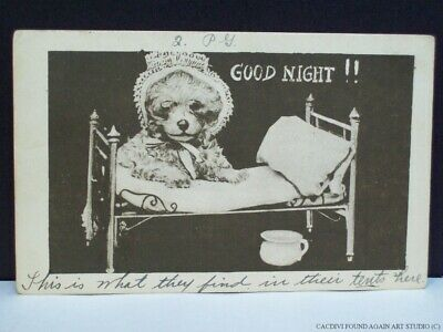 Dressed Puppy Dog in Night Gown Clothes Doll Bed Comic Postcard Good Night 1910