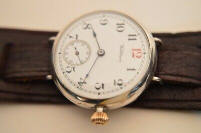 Waltham Sterling Silver Canadian Market Trench Watch ca. 1914 Kitchener strap