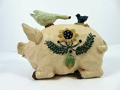 Folk Art Pig With Goose & Bluebird On Its Back Rough Carved Resin Sunflower Side