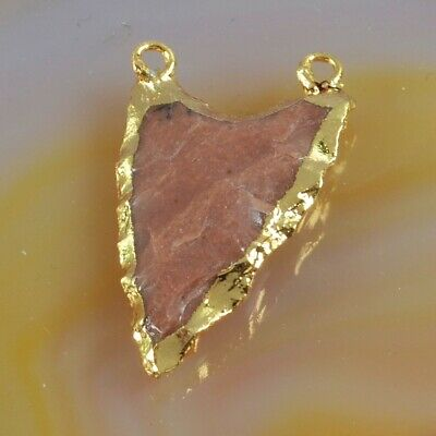 Hand Knapped Arrowhead Natural Jasper Connector Gold Plated H130756