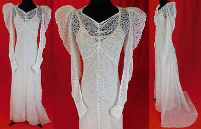 Vintage 1930s White Eyelet Cutwork Organdy Bias Cut Wedding Gown Dress & Slip