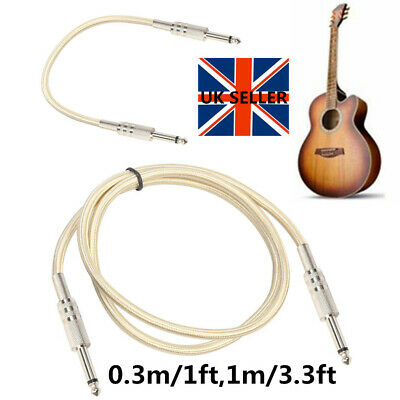 6.35mm Nylon Braid Jack to Plug Guitar Keyboard Amp Lead 1/4 Cable Electric UK