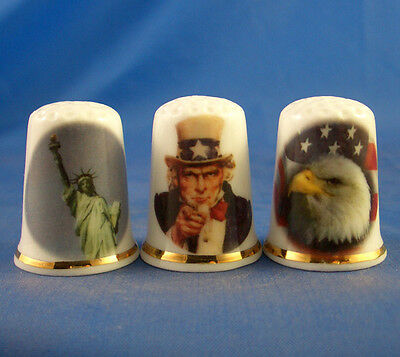 Fine Porcelain China Thimbles - Set Of Three America The Beautiful