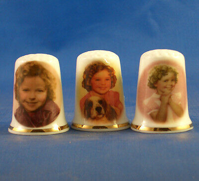 Fine Porcelain China Thimbles - Set Of Three Shirley Temple