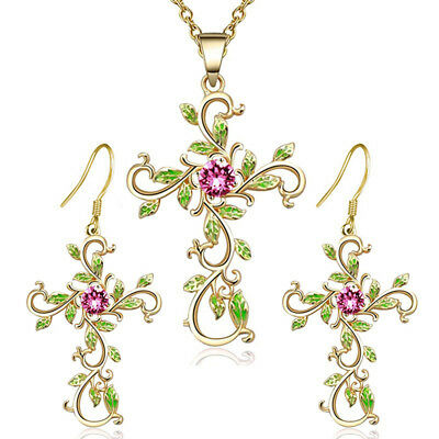 Vintage Leaf Cross Pendant Crystal Necklace Earrings Women Jewelry Set B