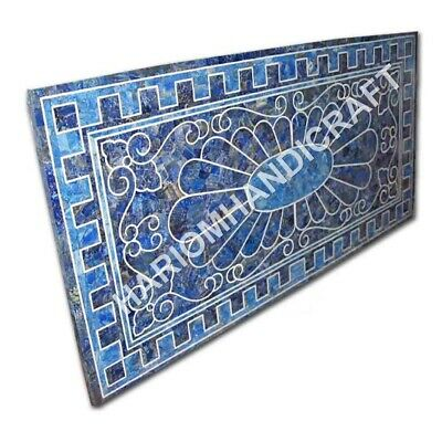 4'x2' Marble Top Dining Table Lapis Lazuli Inlay Marquetry Art Decorative E1008A