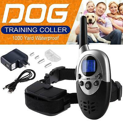 1000ft Remote Dog Shock Collar Rechargeable Waterproof Dog Training Collar USA
