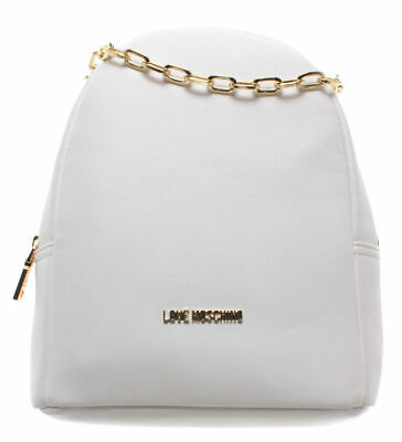 LOVE MOSCHINO Borsa Donna Zaino Smooth PU Bianco Nuovo