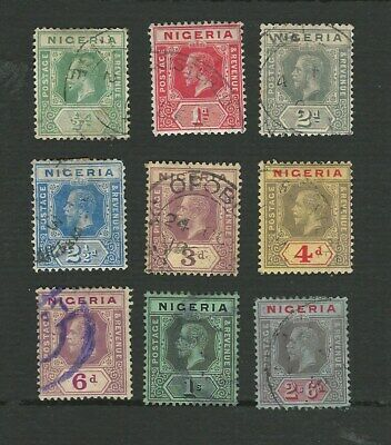 NIGERIA 1914. GEORGE V. 9 DIFFERENT DEFINITIVE STAMPS TO 2/6d. VGU. CAT £44+