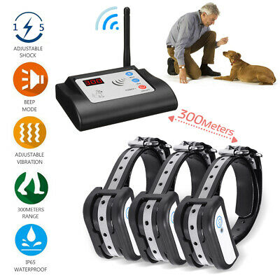 Wireless Electric Dog Pet Fence System Waterproof 1/2/3 Train Collar Transmitter