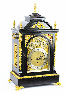 Antique Ormolu Mounted Ebonised Gilt Bronze Chiming Bracket Clock 19th C