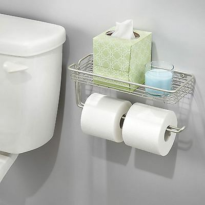 Wall Mounted Double Toilet Paper Roll Holder Bathroom Organiser with Shelf New