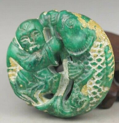 Chinese old natural jade hand-carved boy and fish statue pendant 2.1 inch