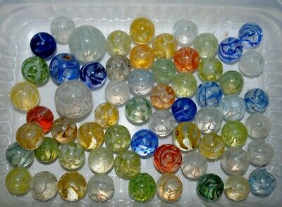 GB***lot old German machine made marbles, wire pull