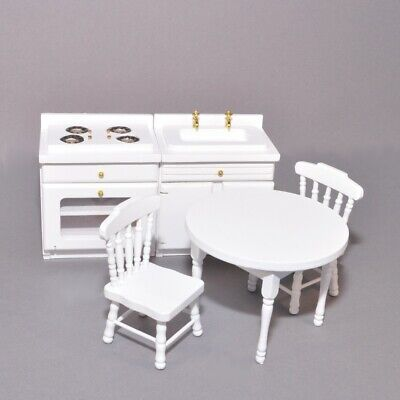 Dolls House Traditional Kitchen Diner Set DF1536 1:12th Scale Table & Chairs