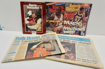 1991 CHICAGO BULLS 1st NBA Championship NEWSPAPERS & MAGAZINES~Tribune, Herald
