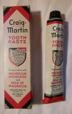 Craig Martin Tooth Paste - Tube And Box - 1939