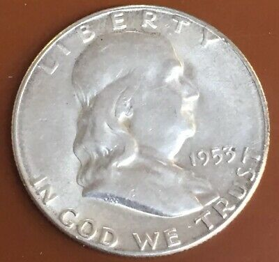 1953-S Franklin Silver Half Dollar AU Almost Uncirculated Coin Nice Bell Lines