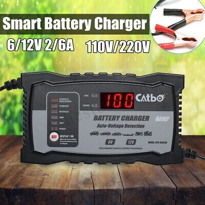6V/12V 2A/6A Car Lead Acid Smart Battery Charger For Motorcycle Intelligent LCD