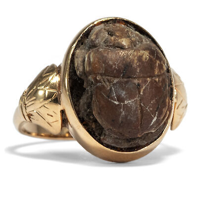 Antique Ring in 750 Gold with Antique Egyptian Scarab Pharaoh Egypt Scarab
