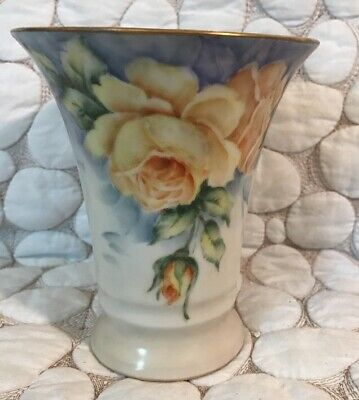 Antique/Vintage Schumann Germany Signed Hand Painted Yellow Roses Vase Beautiful