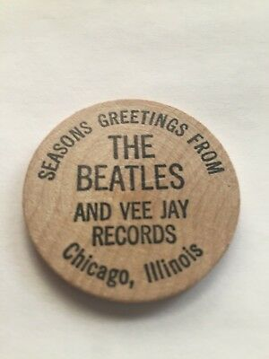 Seasons greetings from The Beatles & Vee Jay Records christmas wood nickel promo