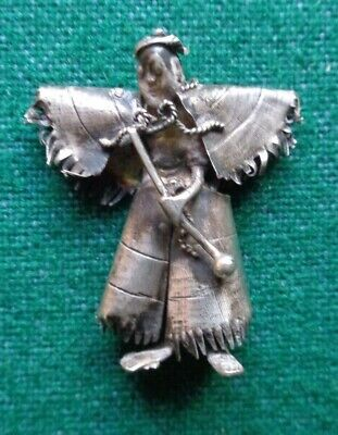 Antique Silver Plate Novelty Souvenir South American ? Standing Figure & Cloak