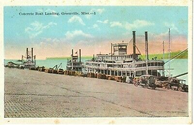 1920's The Concrete Boat Landing in Greenville, MS Mississippi PC