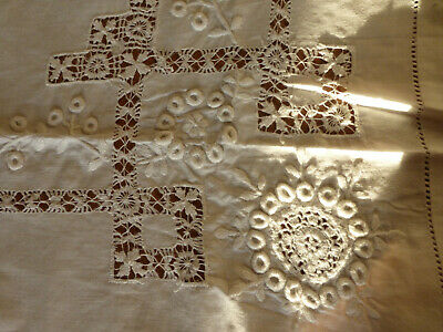 Hand embroidered white work tablecloth